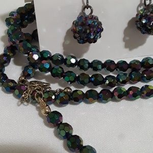 Mystic Beaded necklace and earrings